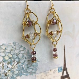 Jewelry - Purple Crystal and Gold Tone Earrings